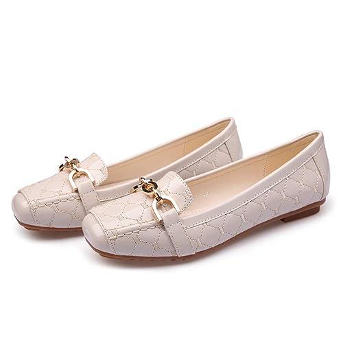 Planos Zapatos Mocasines Fiesta Boda Vestido Fondo Suave pies Cuadrados Barco Zapatos resbalón en los Zapatos de Trabajo: Amazon.es: Zapatos y complementos