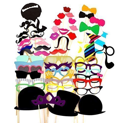 Tinksky Photo Booth Props 60 piece DIY Kit for Wedding Party Reunions Birthdays Photobooth Dress-up Accessories & Party Favors, Costumes with Mustache on a stick, Hats, Glasses, Mouth, Bowler, - Party Supplies