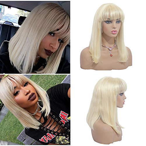 - 613 Blonde Bob Lace Front Wig with Bangs Blonde Short Straight Bob Human Hair Wigs for Black Women 180% Density 13x4 Frontal Bob Wig 14 Inch