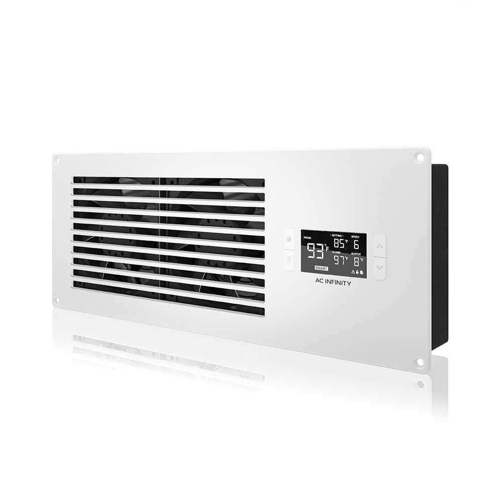 AC Infinity AIRFRAME T7-N White, High-Airflow Cooling Fan System 16'', Intake Airflow, for AV Equipment Rooms, Closets, and Enclosures