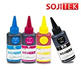 1 SET - 4 Colors (4 x 100ml) - SOJITEK Canon Brother Dell Lexmark Compatible Refill Dye Black Cyan Magenta Yellow Ink for Dell W5300