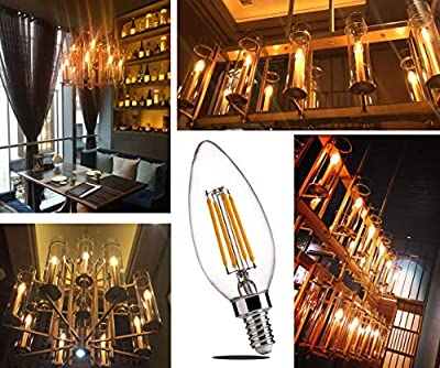 E12 Base LED Filament Bulbs - FLSNT 2700K Soft White 4.5W Dimmable Candelabra LED Candle Light Bulb
