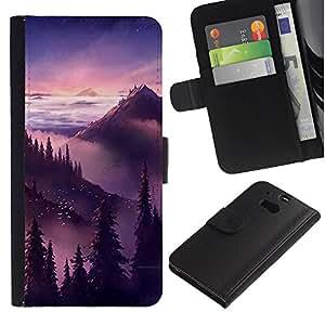 Billetera de Cuero Caso Titular de la tarjeta Carcasa Funda para HTC One M8 / Sunset Sunrise Mountains Trees / STRONG