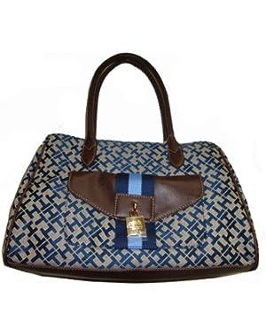 Women's Tommy Hilfiger Medium Shopper Handbag (Navy Alpaca Trimmed With Brown)
