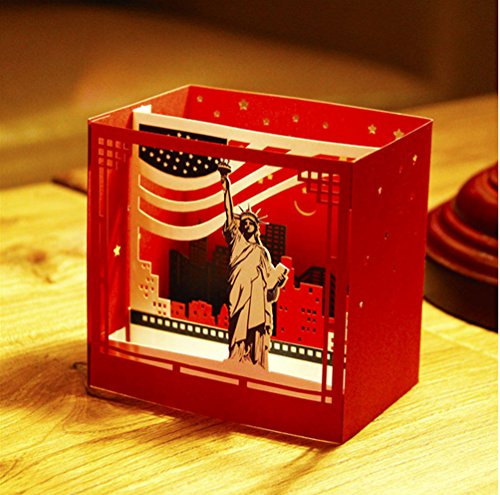 MADE4U Kirigami Papercraft 3D Pop Up Card Anniversary Baby Birthday Easter Halloween Mother's Day New Home New Year's Thanksgiving Valentine's Day Wedding Christmas Card (Statue of Liberty HK3151)