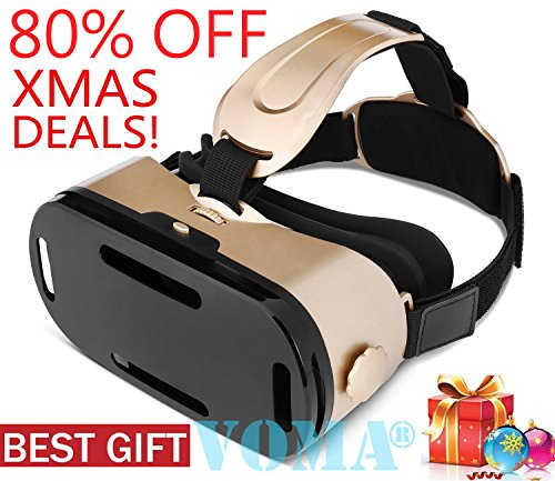 3D VR Glasses, 360 Degree Viewing Immersive VR Virtual Reality Headset 3D Movie Game Box For iPhone X 8 7 6/6s Plus, Samsung S8 S7 S6/Plus/Edge Note 8, Smartphones w/ 4.7 - 6.0in Screen Gold