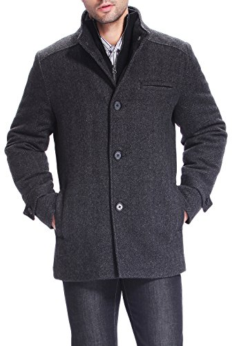 BGSD Men's Samuel Herringbone Wool Blend Bibbed Car Coat, Black, - Herringbone Top Coat