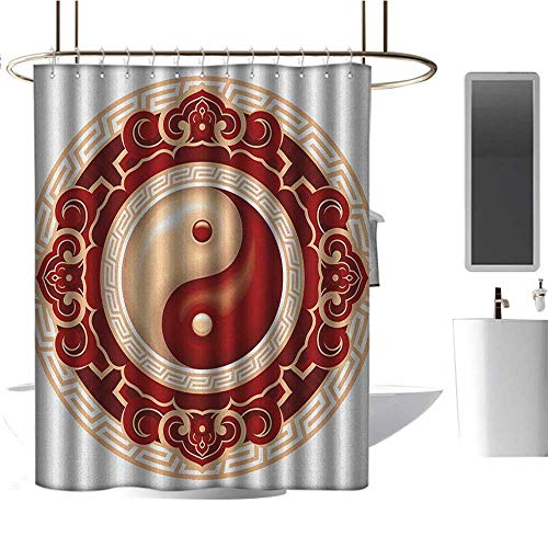 Extra Long Shower Curtain Ying Yang,Traditional Asian Cultural Symbol Floral Ornamental Patterns Balance Zen, Maroon Cream White,Hand Drawing Effect Fabric Shower Curtains 54