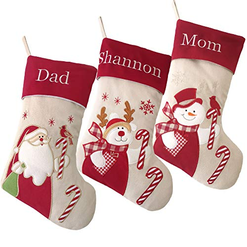 WEWILL Personalized Christmas Stockings Home Decoration Gifts for Family Members, Set of 3pcs