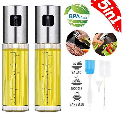 Oil Sprayer for Cooking, JoySusie Oil and Vinegar Dispenser Set with Glass Bottle and Stainless Steel, Olive Oil Soy Sauce dispenser Pump Sprayer for Kitchen, Air Fryer, BBQ, Making Salad, Baking (2 P