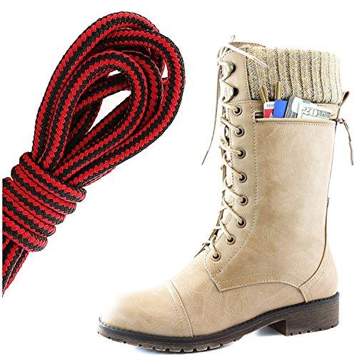 Dailyshoes Womens Bekämpa Stil Snörning Fotled Toffeln Rund Tå Militära Sticka Kreditkorts Kniv Pengar Plånbok Ficka Stövlar, Svart Röd Beige Pu