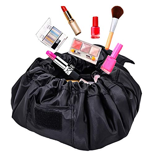 Adigow Drawstring Cosmetic Bag Large Lazy Makeup Bag Multifunction Storage Pouch Portable Quick Pack Waterproof Travel Bag (Black)