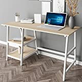Dland 55'' Computer Desk Tplus-140MW, Composite Wood Board, Home Office Desk/ Workstation/ Table with 2 Shelves, Maple & White Legs, 1 Pack