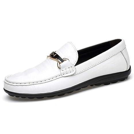 Xiazhi-shoes, Hombre Transpirable talón Plano de conducción holgazán Piel de cocodrilo Texure Wave