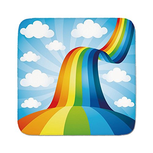 Cozy Seat Protector Pads Cushion Area Rug,Rainbow,Rainbow Road Clouds Abstract Cartoonish Expression Natural Events Ribbon Decorative,Sky Blue Multicolor,Easy to Use on Any Surface ()