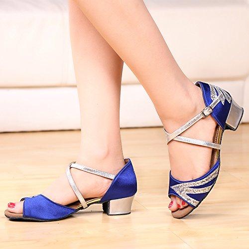 Abby 611 Womens Relaxing Party Standard Ballroom Comfy Peep Toe Salsa Low Heel Modern Dance Shoes Blue&silvery OXA17F