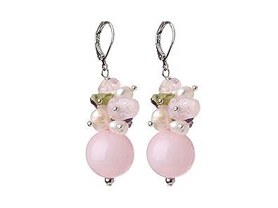 TreasureBay FAB Amethyst, Rose Quartz, Peridot gemstone and Elegant FreshWater Pearl Women Necklace 47cm/18.5