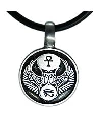"EXOTICDREAM Egytian Eye of Ra Horus Scarab Pewter Pendant + 18"" Pvc Rubber Necklace"