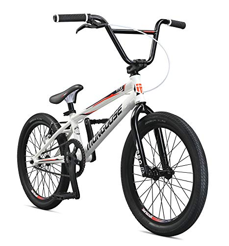 Mongoose Title Elite Pro BMX Race Bike for Advanced Riders, Featuring Professional-Grade 6061 Tectonic T1 Biaxial Hydroformed and Butted Aluminum Frame with 20-Inch Wheels, White - Mongoose Bmx Bike