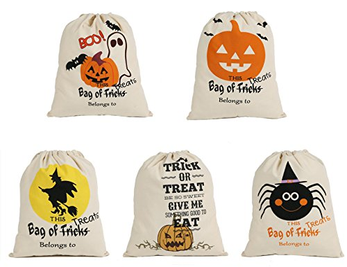 E-FirstFeeling Pack of 5 Halloween Bags Trick or Treat Candy Bags Drawstring Gift Sacks 14.2 X 17.4 Inches Pumpkin Bags for Halloween Presents (5 mixed desings) -