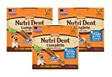 (3 Pack) Nylabone Nutri Dent Complete Dog Treat Bones for Petite Dogs up to 15 Pounds Filet Mignon 125 Count