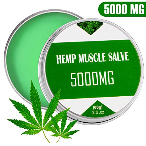 Hemp Cream - 5000 Mg - Back, Neck, Knee Pain Relief - ALL Natural Extract - Fast Sore Muscle Relief& Good for Skin Health - Non-GMO (Best Muscle Rub For Neck Pain)