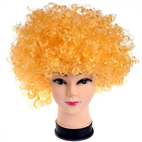 Best-topshop Holiday Party Explosion Curls Wig Clown Decor Funny Halloween Costume Multicolor (Golden)