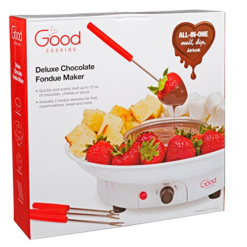 Chocolate Fondue Maker- Deluxe Electric Dessert Fountain Fondu Pot Set with 4 Forks and Party Serving Tray - A Great Valentine's Day Gift! by Good Cooking (Image #1)