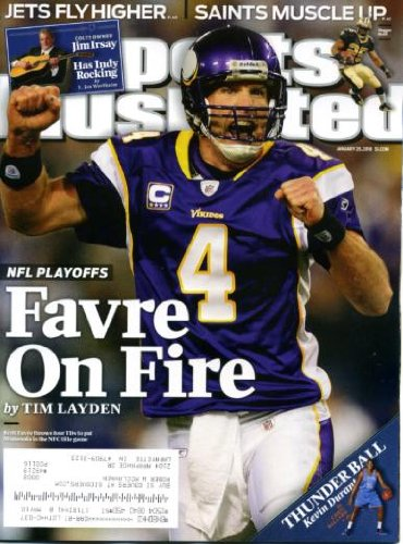 (Sports Illustrated January 25 2010 Brett Favre/Minnesota Vikings on Cover, Kevin Durant/Oklahoma City, Jim Irsay/Indianapolis Colts, Northern Iowa Basketball)