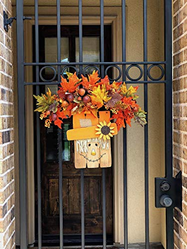 D.I. Inc Halloween Harvest Fall Decoration Wall Front Door Wreath Hanging Wood Decor Indoor Outdoor Interchangeable Double Sides 2 in 1 (13'' x 12'') by D.I. Inc (Image #4)