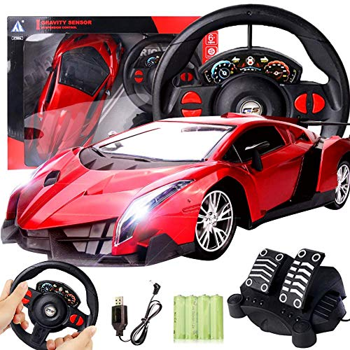 - Coaste 1:12 Steering Wheel Gravity Sensing Four-Way Remote Control Car Model Toy,Ferrari Simulation Model,Real Experience,Two Color to Choose(red and Silver)
