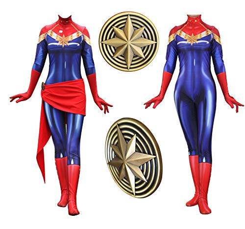 Texmex Lady Captain Suit Halloween Zentai Cosplay Costumes Suit Adult/Kids 3D Style (Adults-M Red and Blue -