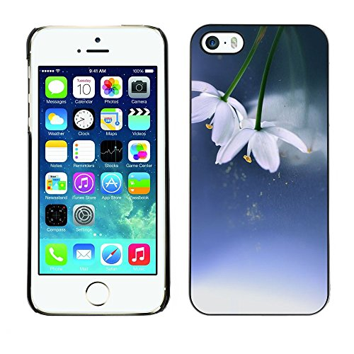 Soft Silicone Rubber Case Hard Cover Protective Accessory Compatible with Apple iPhone? 5 & 5S - flowers winter spring blue white