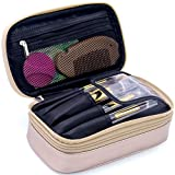 Makeup Brush Cosmetic Organizer Portable 2 layer Small Makeup Pouch Holder PU Leather Case with Carry Handle for Travel (Rose gold)