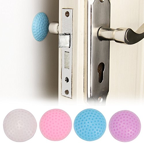 Door Protective Pad - 2 Pieces Wall Thickening Mute Door Fenders Modelling Rubber Fender The Handle Door Lock After Protective Pad Wall Stickers - RANDOM COLOR