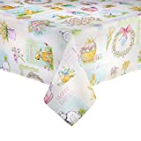 Happy Easter Bunny Eggs Print Fabric Tablecloth (60 x 84 Rectangle/Oblong)