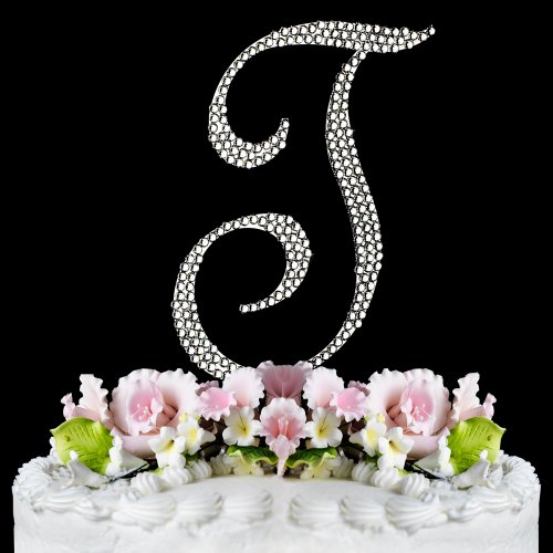 RaeBella Weddings Completely Covered Swarovski Crystal Silver Wedding Cake Topper ~ Medium Monogram Letter T