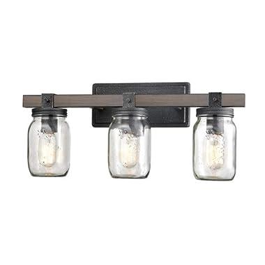 CLAXY Glass Mason Jar Wall Sconces Distressed Wooden & Metal 3 Light Bath Vanity Lights