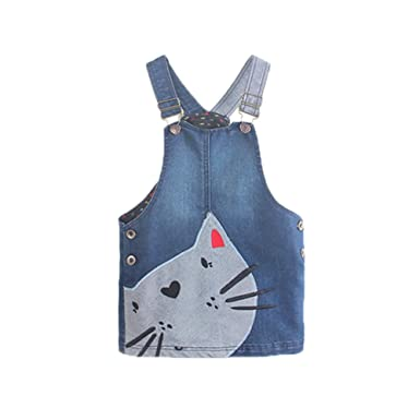 7eb031801 Girls' Denim Jean Overalls Pinafore Dress Cute Cat Pattern Braces ...