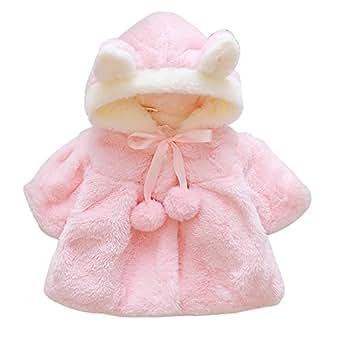 DRSHOW Baby Girl Fur Coat Winter Jacket Clothes Fleece Cloak Outwear Ears Hood Pink 70