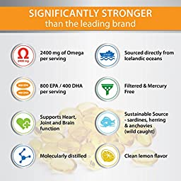 Omega 3 Fish Oil Supplement - Triple Strength EPA 860mg + DHA 430mg - Burpless with Lemon Flavor - Easy to Swallow - Mercury Free - Top Joint, Heart and Brain Health Formula