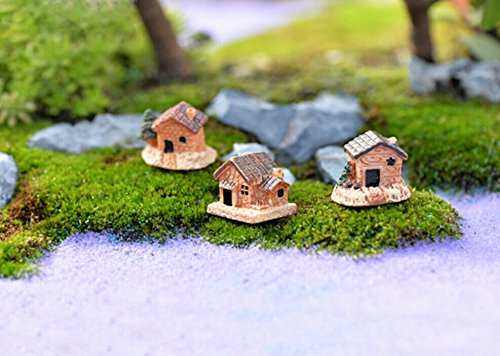 Mini Dollhouse Pastoral Style Micro Moss Landscape Resin Decorations Stone House, DIY Mini Craft Cottage for Home and Garden (Random)