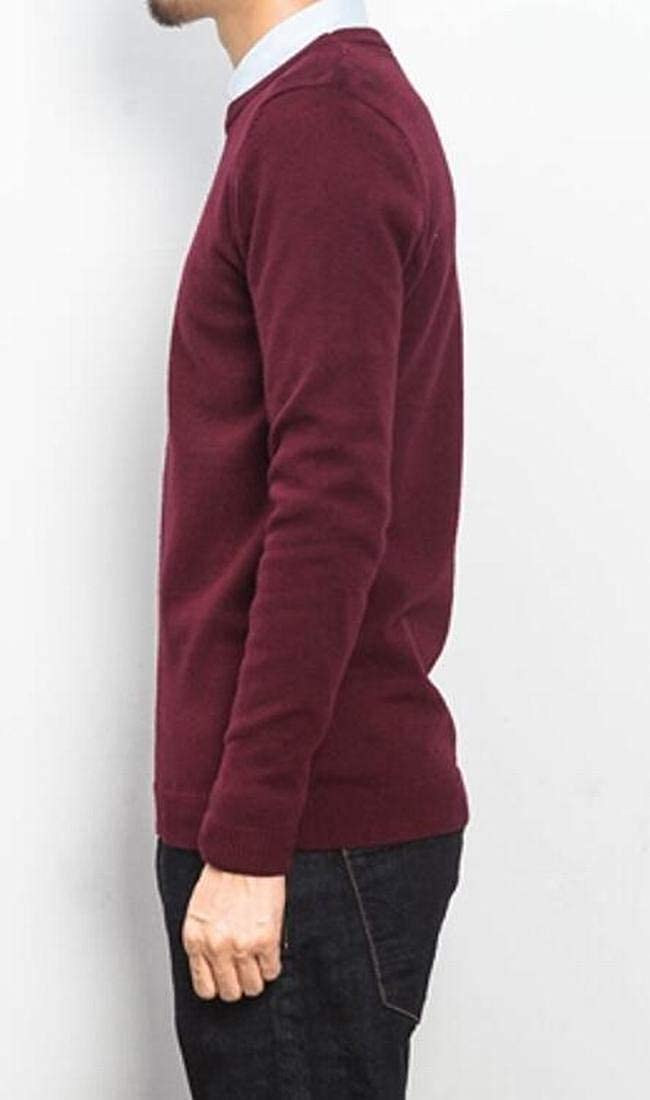 BYWX Men Casual Long Sleeve Solid Classic O-Neck Slim Fit Sweater