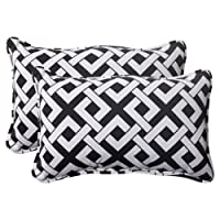 Pillow Perfect Indoor/Outdoor Boxin Corded Rectangular Throw Pillow, Black, Set of 2 by Pillow Perfect