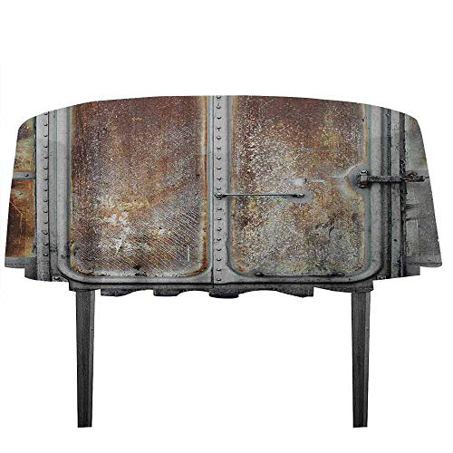 kangkaishi Industrial Leakproof Polyester Tablecloth Vintage Railway Container Door Old Locomotive Transportation Iron Power Design Outdoor and Indoor use D43.3 Inch Grey Brown ()