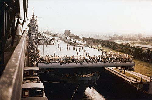 Home Comforts Laminated Poster The U.S. Navy Aircraft Carrier USS Yorktown (CV-10) transiting The Panama Canal, Bound for The Pacif Vivid Imagery Poster Print 24 x 36