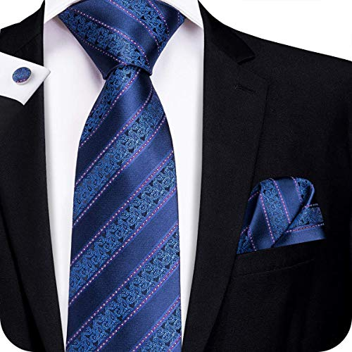 Hi-Tie New Arrival Mens Nvay Blue Striped Paisley Tie Necktie Pocket Square and Cufflinks Tie Set Gift -