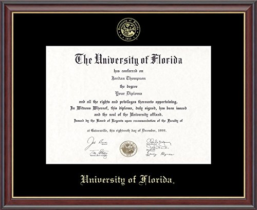 "University of Florida Gold Embossed Diploma Frame – Solid Hardwood ""Studio Gold"" Moulding, Officially Licensed – 11.5''h x 16''w Diploma Size – By Church Hill Classics by Church Hill Classics"