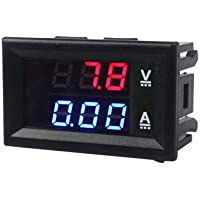 Mini Digital Voltmeter DC 100V 10A with 0.28 inch Blue + Red Dual LED Display