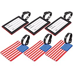 6-Pack Luggage Tags - American USA Flag Travel Baggage ID Labels, 4.1 x 0.23 x 2.6 Inches